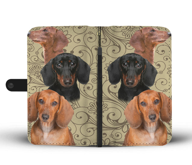 ln dachshund pattern wallet case