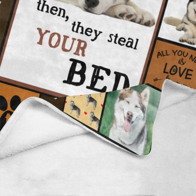 "SHN 10 They steal your bed Siberian Husky blanket 60"" x 80"""