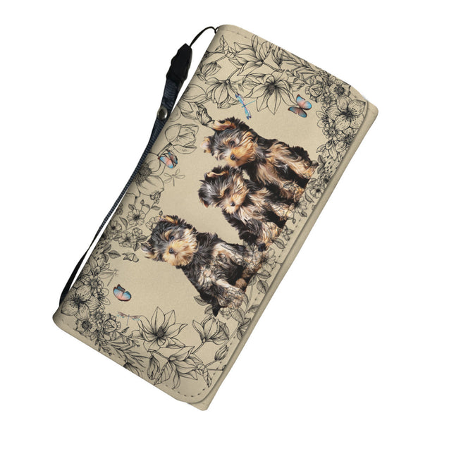 nh 6 yorkshire terrier  flower womens wallet