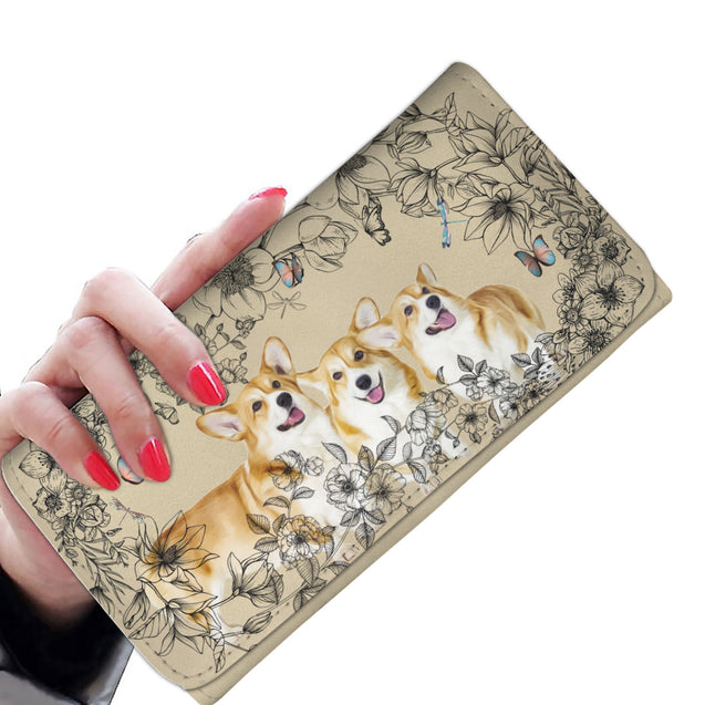 nh 6 corgi flowers womens wallet