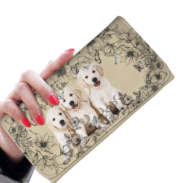 nh 6 golden retriever flowers womens wallet