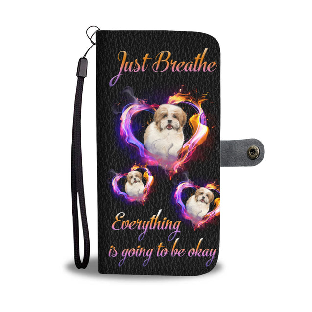ln shih tzu just breathe wallet case
