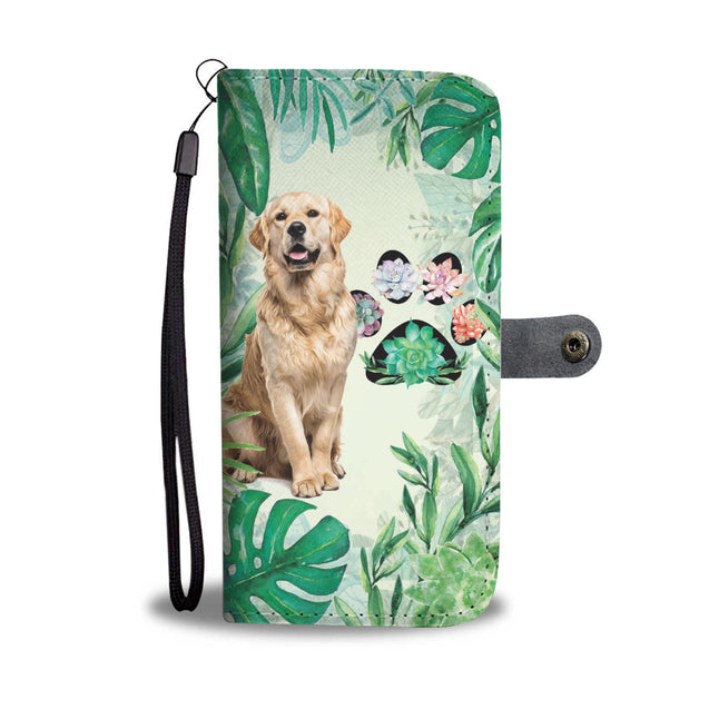 TD Golden Retriever Tropical Floral Wallet Case