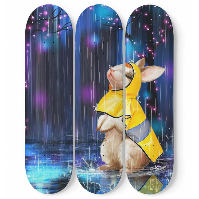 TD Rabbit Watching The Rain 3 Skateboard