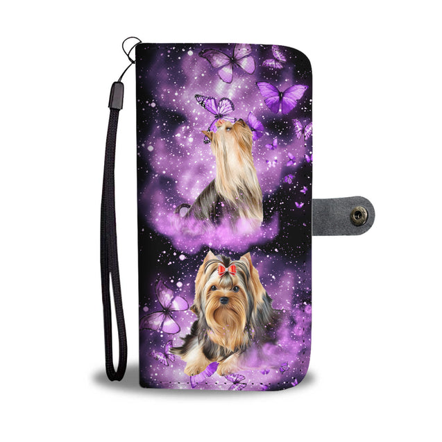 LT 7 two yorkshire and butterfly purple wallet case