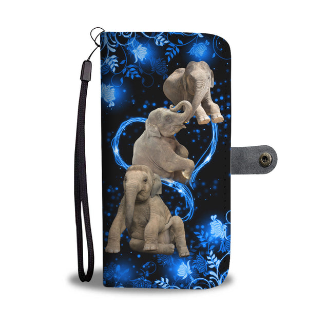 SHN 10 Blue heart twinkle Elephant Wallet case