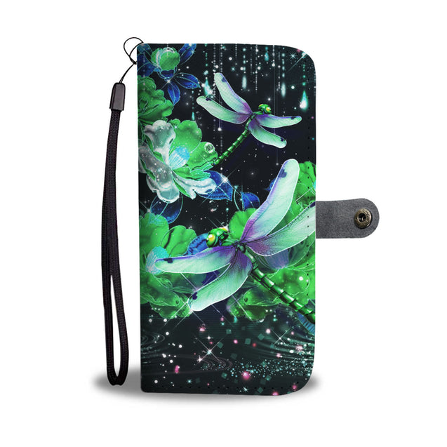Mn 10 Dragonfly Sparkling Green Flowers Wallet Case
