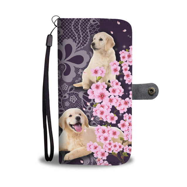 Mn Golden Retriever With Cherry Blossom Wallet Case