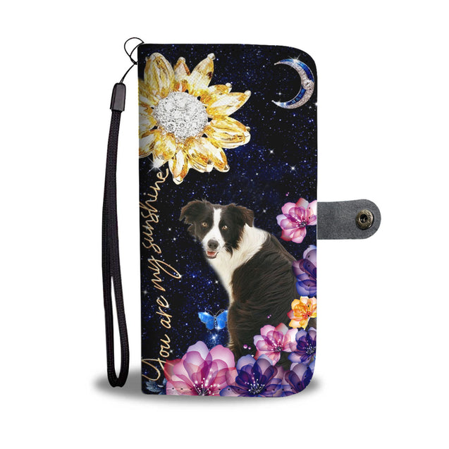 dt-8 border collie diamond sunflower wallet phone case