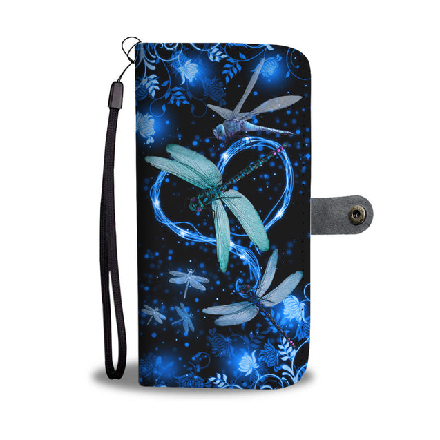 SHN 10 Blue heart twinkle Dragonfly Wallet case