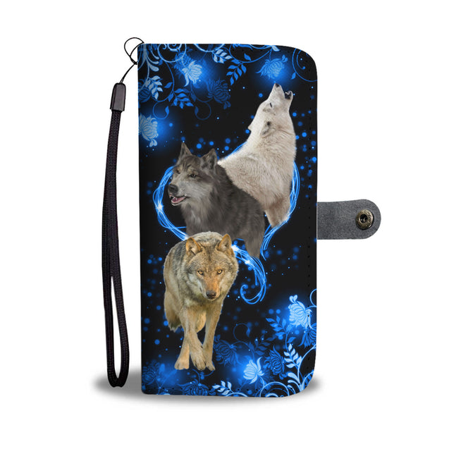 SHN 10 Blue heart twinkle Wolf Wallet case
