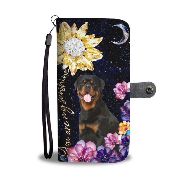 dt-8 Rottweiler diamond sunflower wallet phone case