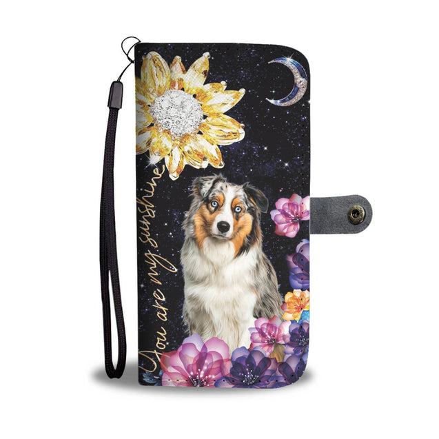 dt-8 Australian Shepherd diamond phone wallet case