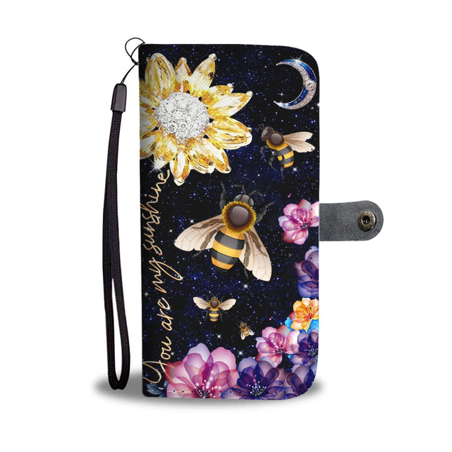 dt-8 bee diamond sunflower wallet phone case