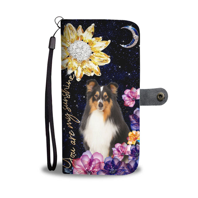 dt-8 Sheltie diamond sunflower wallet phone case