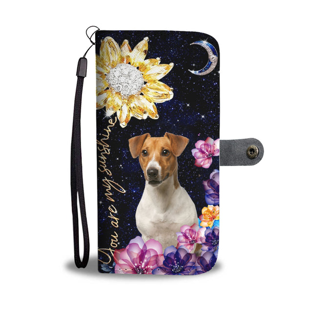 dt-8 Jack russell diamond sunflower wallet phone case