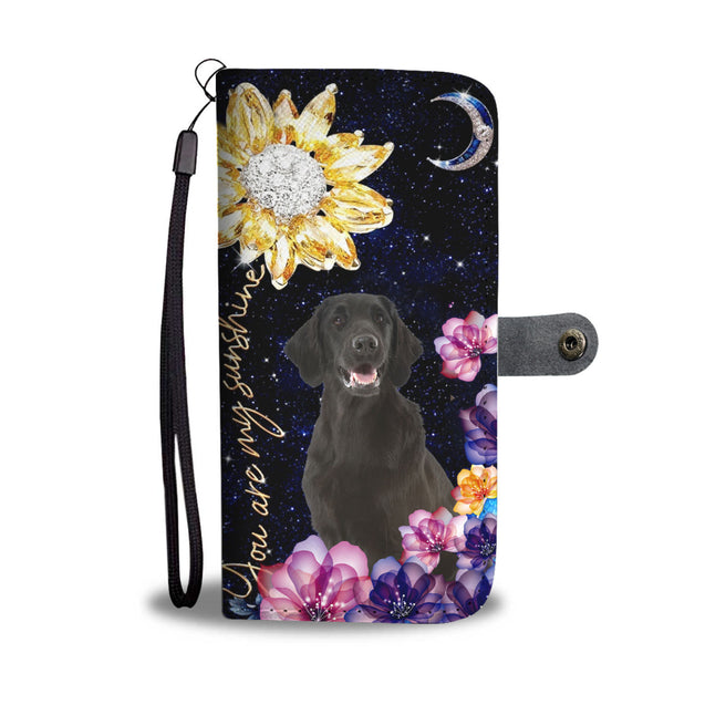 dt-8 black lab diamond sunflower wallet phone case