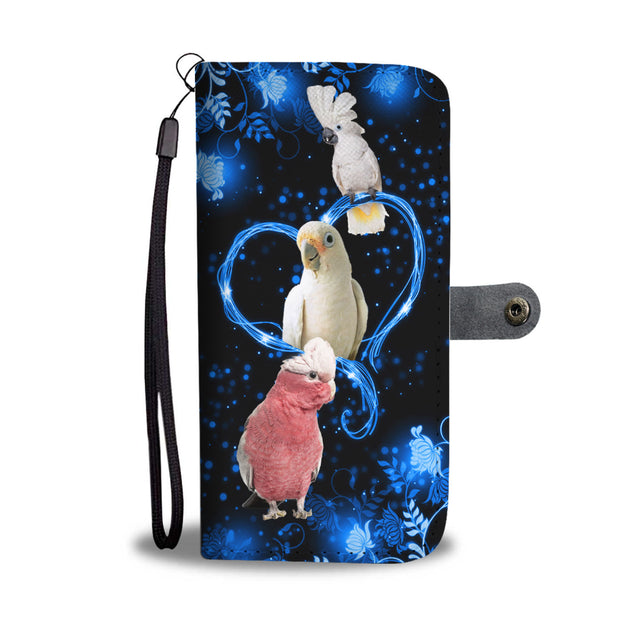 SHN 10 Blue heart twinkle Parrot (customer) Wallet case