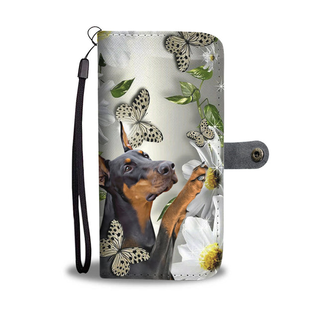 fn 5 dorberman pinscher daisy and butterfly wallet case