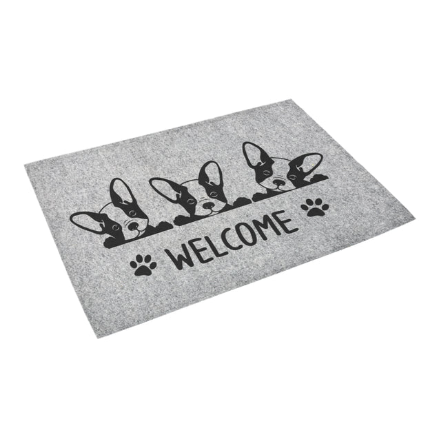 nh 1 french bulldog welcome grey doormat