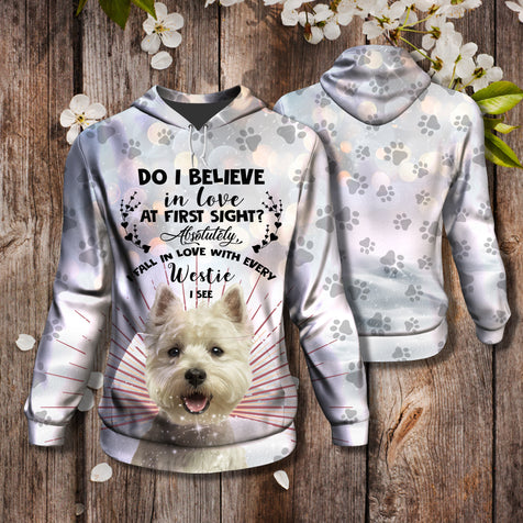 Nh 5 3D Hoodie West highland white terrier love at first