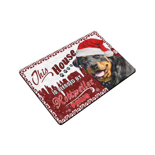 SHN 3 House blessed by paws Rottweiler Doormat door mats 24'' x 16''