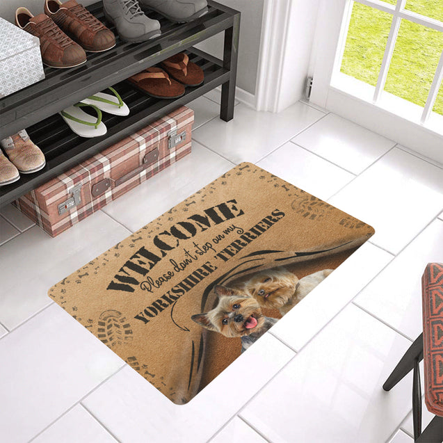 TH 5 Don't Step On Yorkshire Terrier Rubber Doormats