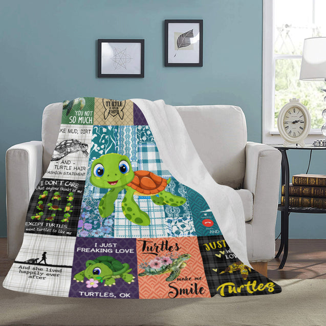 SHN 7 Easily distracted by Turtles Blanket 60'' x 80''
