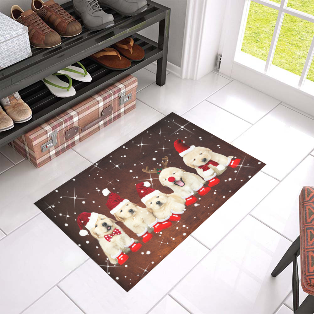 Qhn 7 Merry Christmas Golden Retriever Door Mats 24 x 16