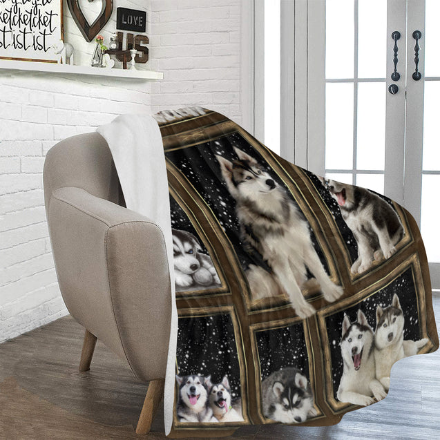 "SHN Snow sky through window Siberian Husky blanket 60"" x 80"""