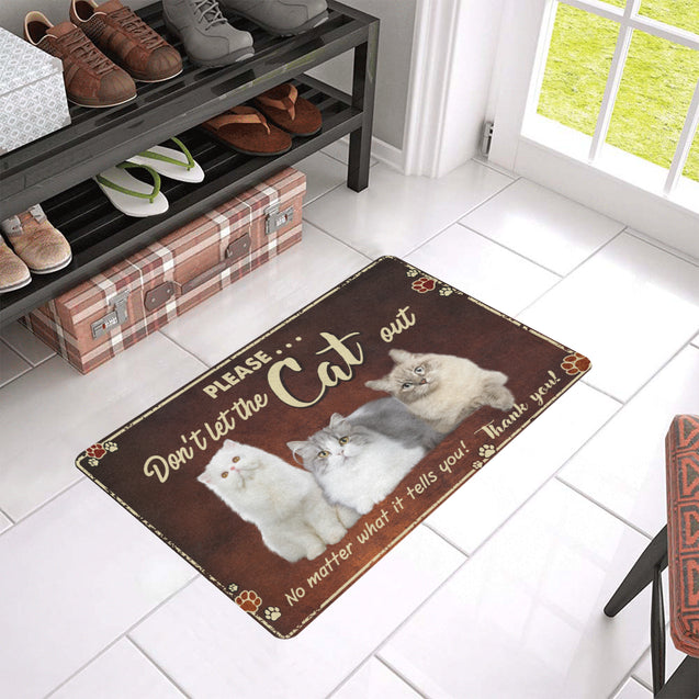 Mt 7 Don't Let The Cat Out Door Mat 24x16