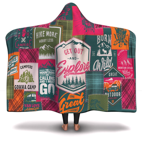 Hooded Blanket  Camping Patchwork #2