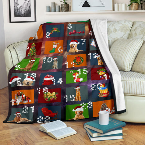 dt Golden Merry Christmas Blanket