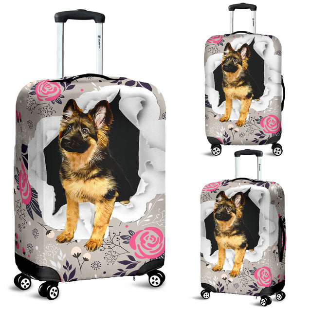 nh german shepherd flower luggage cover