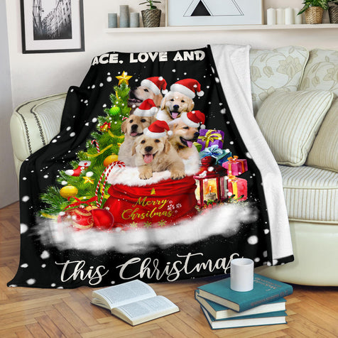 SHN 7 Golden Retriever Xmas bag blanket
