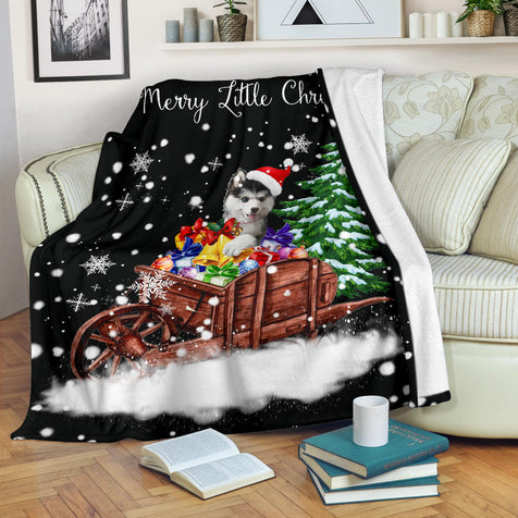 SHN 7 Have yourself a merry little Christmas Siberian Husky blanket