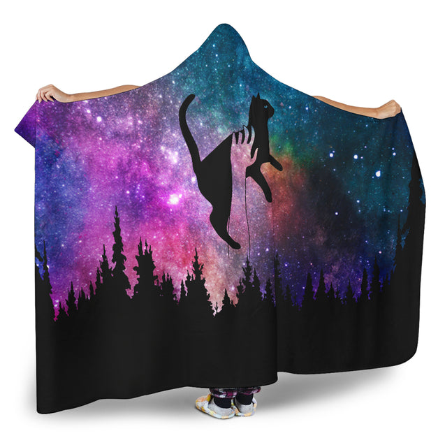 Qhn 9 Galaxy Space Cat Hoodie Blanket