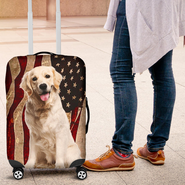 nh golden retriever flag luggage cover