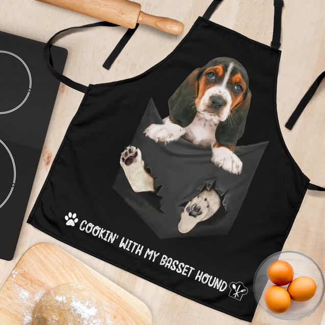TD Basset Hound Cookin' With Me Apron