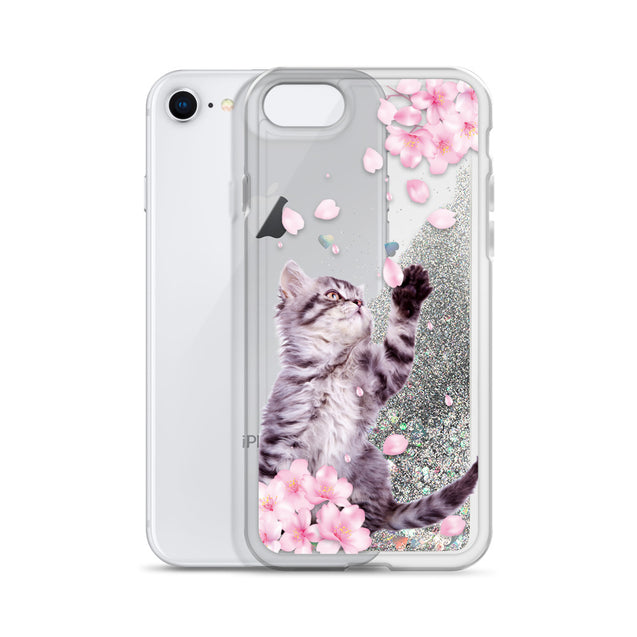 lt 7 cat with cherry blossom Liquid Glitter Phone Case