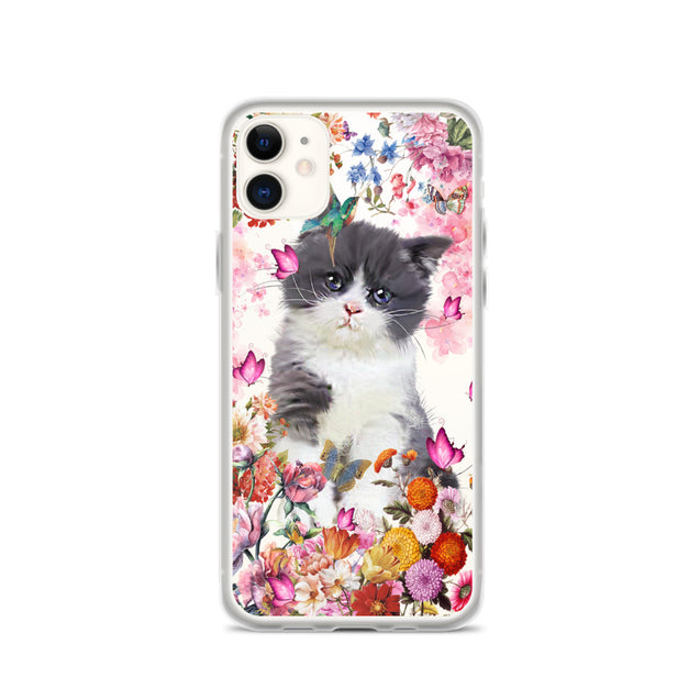 Mt Spring Flower cat Clear Phone Case