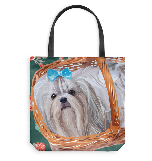 Nh shih tzu flowers tote bag