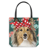 Nh sheltie flowers tote bag