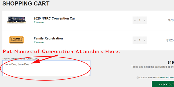 Where to place names of convention attenders