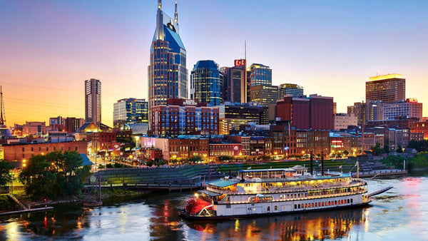 Evening image of downtown Nashville