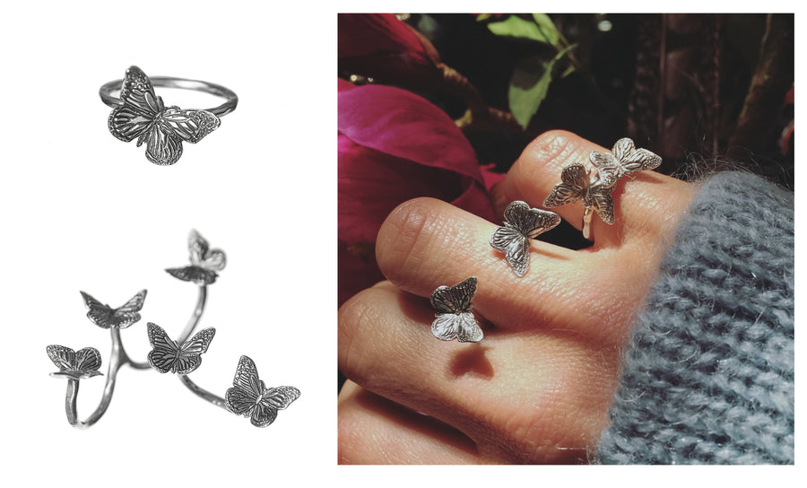 Butterfly Schmetterling Triple Ring