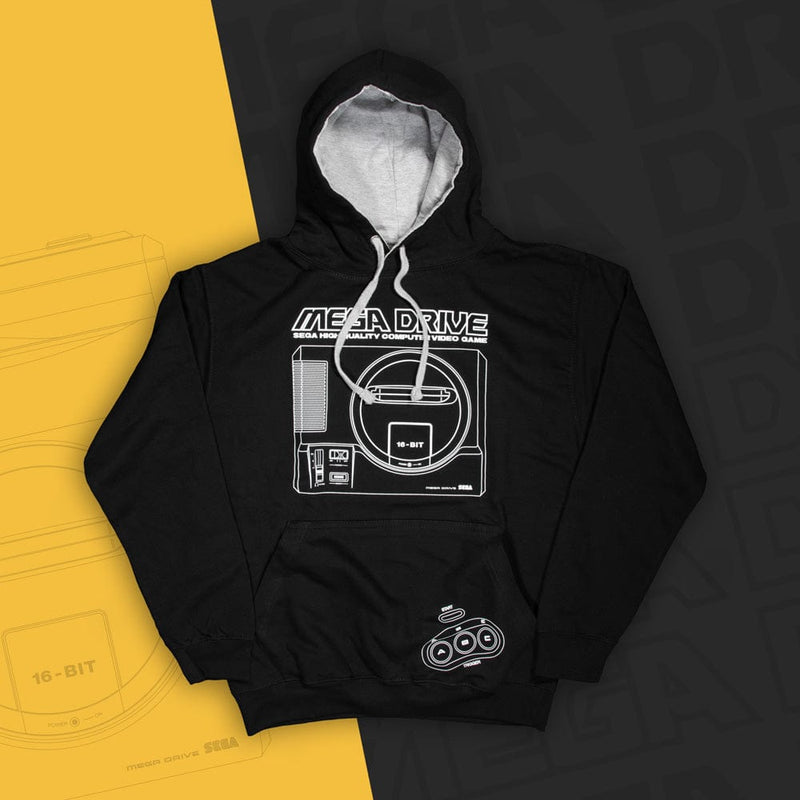Official Mega Drive 'Logo and Console' Black and Gray Hoodie (Unisex)