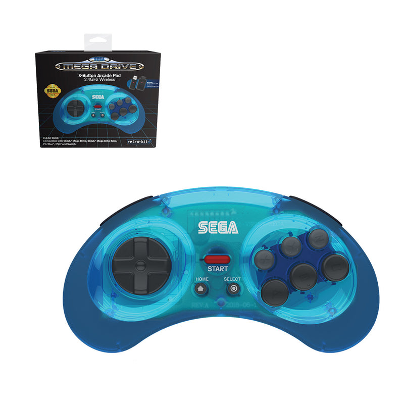 Retro-Bit SEGA Mega Drive 2.4G Wireless Blue Controller