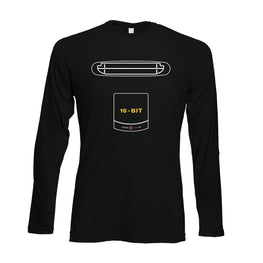 Official Mega Drive Console Outline Print Long Sleeved T-Shirt