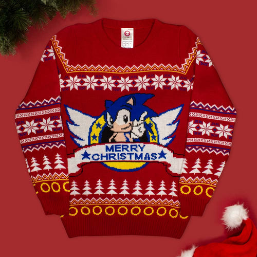 Official Classic Sonic the Hedgehog Christmas Jumper / Ugly Sweater